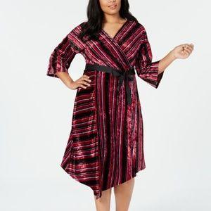 NY Collection Plus Size Striped Velvet Dress